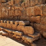 M47X3E Archaeological ruins of ancient toilet structure in Caesarea, Israel